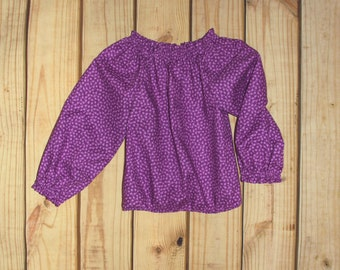 Girl's Longsleeve Top - Purple Small Dot
