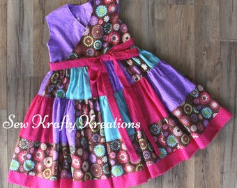 Girl's Dress - Purple and Brown with Flowers Patchwork