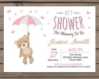 Teddy Bear Baby Shower Invitation Baby Shower invitation Baby girl Teddy Bear pink white Grey Gray Teddy bear shower Digital PRINTABLE DIY