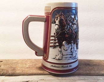 Vintage Budweiser Clydesdale Holiday Collector's Series Beer Stein 1989 Anheuser Bush Beer Mug Bar Decor