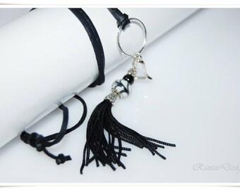 Black tassel chain necklace black velvet tassels pendant black necklace long charm necklace black tassel