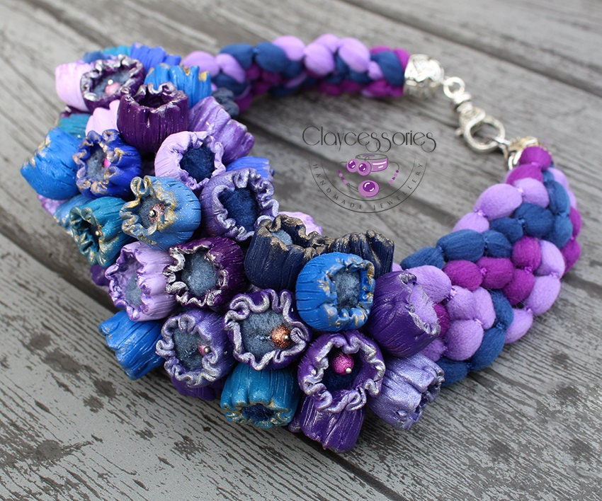 Floral necklace / Flower  necklace / Colorful necklace / Nature necklace / Dainty necklace / Polymer clay jewelry