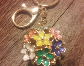 Flower keychain multi color gift with friend note keyring
