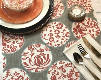 Floral Table Runner - 6 Standard Sizes - Custom Sizes and Detailing Available. Orange Floral Table Runner