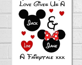 Valentines day gift personalised Disney love inspired print or canvas boyfriend girlfriend wife husband