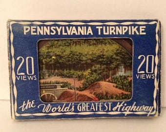 ON SALE Pennsylvania Turnpike vintage souvenir miniature postcards lot 1940's