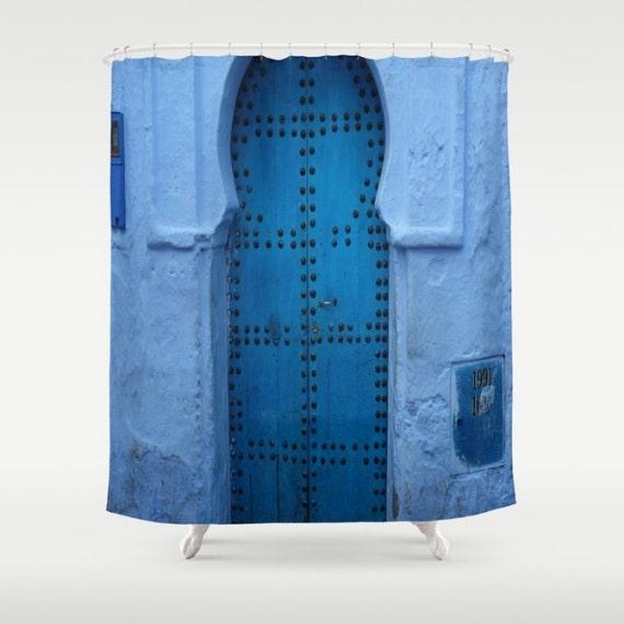 duschvorhang marokko marokkanische blaue t r dusche vorhang. Black Bedroom Furniture Sets. Home Design Ideas