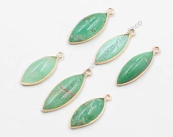 Natural Jade Pendants -- With Electroplated Gold Edge Green Chrysoprase Supply Wholesale Charm YHA-221