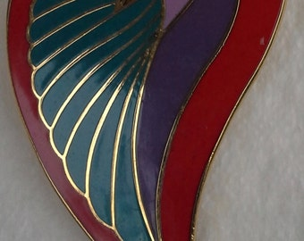 Vintage Laurel Burch dove heart pin/brooch gold tone, enamel.