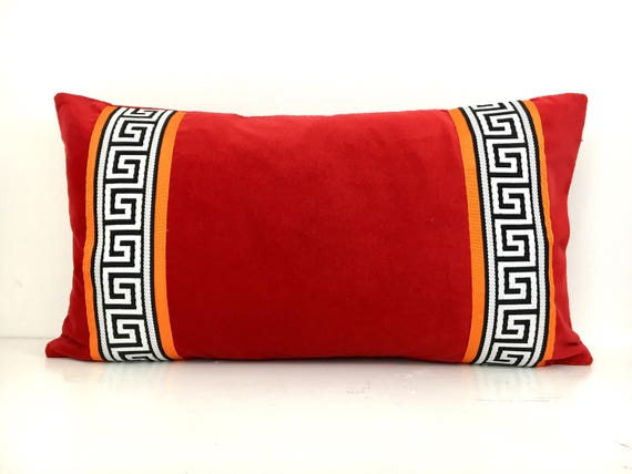 Red Pillow Cover Red Velvet Pillow Cover With Greek Key Trim