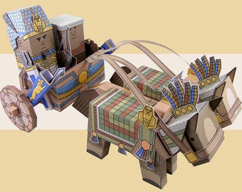 Egyptian chariot. Cut, assemble and play. Instant download.