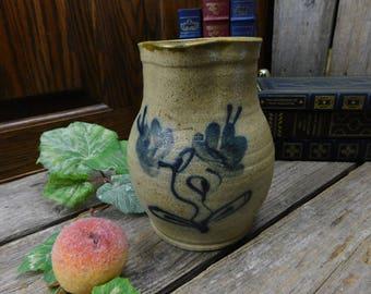 Vintage Tan and Blue Glazed Earthenware Pottery Pitcher - Stebner Pottery, Hartville, Ohio