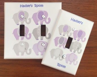Purple Elephant nursery Light switch cover Personalized babys room // SAME DAY SHIPPING**