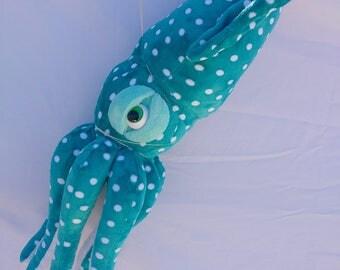 Squid stuffed animal, aqua dot squid, aquatic stuffed animals