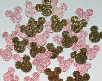 Pink and gold glitter mickey mouse confetti - pink and gold glitter confetti - glitter mickey decorations - glitter minnie mouse confetti