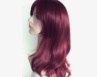 Christmas wig Sale. Long wavy dusty burgundy wig. high quality wig. made to order. New Year's Eve party wig. Christmas party hair.