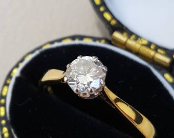 0.50ct Diamond Single Stone Ring in 18ct Solid Gold  'H' Colour Si Clarity