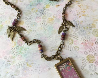 """Item 253    """"Be Fearlessly You"""" Poured Resin Pendant & Bead Necklace"""