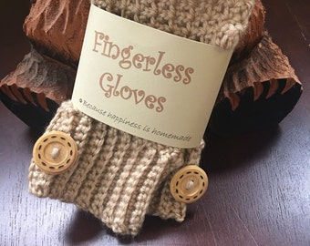 Fingerless Texting Gloves in soft brown
