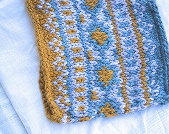 Chunky Knit Cowl in Gray, Yellow, and Blue