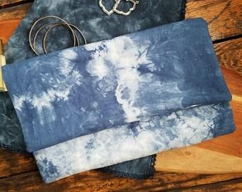 Clutch Purse - Linen Purse - Shibori Linen Foldover Clutch