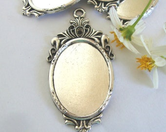 Cabochon Base Antique Bronze/Silver Plated,18x25mm