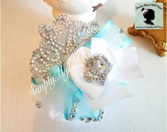 """New! 5""""width 5"""" length Aqua/white with silver Pageant Organza hair bow with silver diamond mesh jewels,handmade silver monogram crown"""