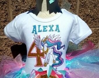 Princess Celestia My Little Pony Girls Birthday Outfit -Personalized Birthday Tutu,Sizes 6m - 14/16