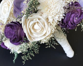 CUSTOM BOUQUET, Purple Sola Bouquet, Beautiful Alternative Sola Flower Bouquet, Spring Wedding Bouquet, Wine and Ivory, Alternative Bouquet