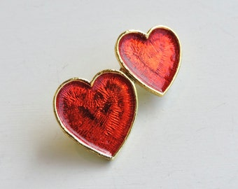 Vintage Heart Brooch, Red Enameled Double Heart Pin, Read Hearts, Iridescent Hearts, Gold Heart Brooch, Valentines Day Gift