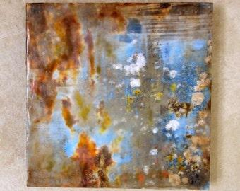Encaustic photography -Lichens and rust, original encaustic art, mixed media