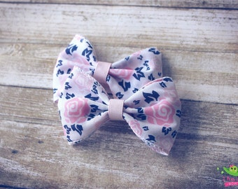 """White Pink Floral Hair Bows, Spring Bows, Baby Girls Hair Bows, Hair Clips, 4"""" Hair Bows, Pigtail Hair Bows, Vintage Inspired Hair Bows"""