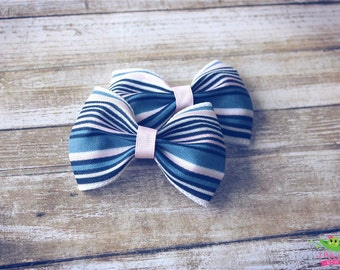 "White Pink Blue Stripes Hair Bows, Trendy Bows, Baby Hair Bows, Toddler Girls Hair Bows, Hair Clips, 4"" Hair Bows, Spring Hair Bows, Gifts"