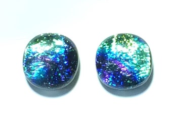 Dazzling 12mm Dichroic Fused Glass Stud Earrings, Green, Purple, Cobalt Blue, Turquoise Hypoallergenic Surgical steel posts
