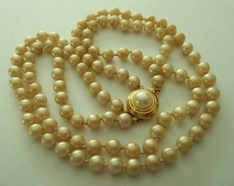 Vintage  Crown Trifari Double Strand Hand Knotted  Faux Pearl Necklace