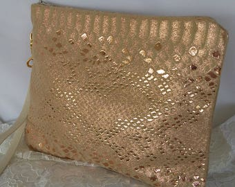 Rose gold leather snakeskin clutch BBsCustomClutches leather wristlet prom clutch bridal clutch wedding clutch
