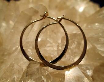 """14K. Gold Hoop Earrings ~Handmade~ Light & Comfortable Med.Small (13/16 """")"""