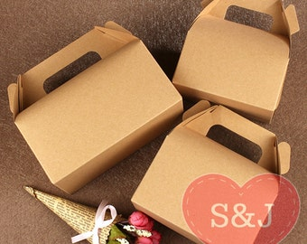 50x BROWN Kraft Gable Cardboard Boxes with Handle - wedding/birthday/party favour