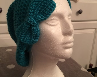 Crochet Slouchy Hat with Bow
