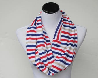 Infinity scarf red blue white cream stripes scarf, Nautical scarf, LONG scarf  jersey knit circle scarf, stripped scarf gift for women