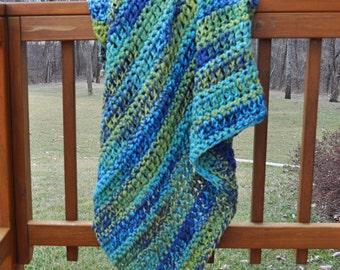 FREE SHIPPING-Crochet Throw Blanket-Navy Blue, Lime Green, Moss Green, and Turquoise Yarn- Made with Two Strands For an Extra Thick Blanket
