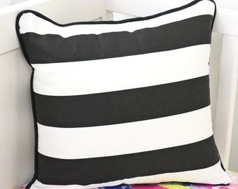 Black and White Striped Square Pillow | Black, White, Striped, Fun, Funky Baby Girl Glider Pillow | Nursery Accent Pillow
