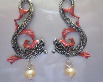 Art Nouveau Art Deco earrings 1920s vintage stye koi earrings pearl drop silver coral large statement earrings
