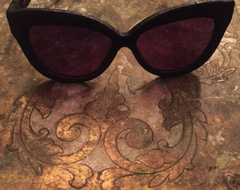 Linda Farrow Luxe Black Snake Skin Sunglasses Vintage Couture Eyewear High End Designer Sunglasses Rock chic Accessory
