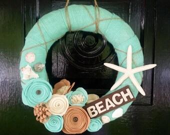 Summer Burlap Wreath, Beach Wreath, Felt Flower Wreath, Seashells, Home Decor, Beach Decor