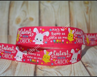 US Designer Ribbon - Easter ribbon- dark pink, 7/8; cutest chick, hair bows, supplies, bunnies, chicks, glitter, 3yd