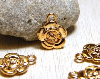 4 Gold Flower Charms, Detailed Flower Charms, Flower Charms, Flower Pendants, Gold Flower Pendants, Gold Flowers, BC-17