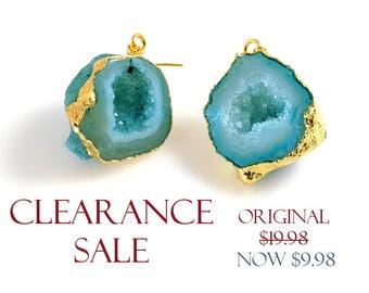 SALE! Blue Geode Druzy Earrings, Ocean Blue Druzy Earrings/ Pendants - 1 PAIR/ order