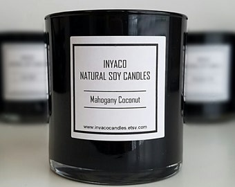 Mahogany Coconut Soy Candle 12oz Glass Jar