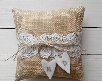 Burlap ring pillow - wedding